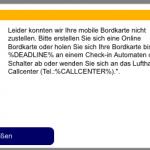 Lufthansa Fehlermeldung 2